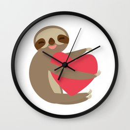 Funny sloth with a red heart Wall Clock