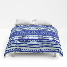 nordic pattern with singing birds in blue Comforters