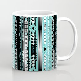 Abstract ethnic pattern in turquoise , black and white . Coffee Mug