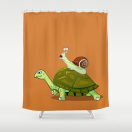 Frightened Snail Hitches a Ride Shower Curtain