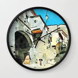 Foreshortening old town with city gate Wall Clock