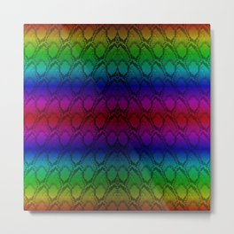 Bright Metallic Rainbow Python Snake Skin Metal Print