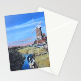 Cley Mill with boats Stationery Cards