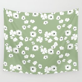 Modern floral on dusty green ground Wall Tapestry