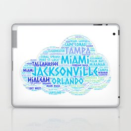 Cloud illustrated with cities of Florida State USA Laptop & iPad Skin