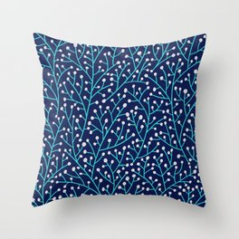 Berry Branches - Turquoise on Navy Throw Pillow