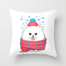 winter dog Throw Pillow