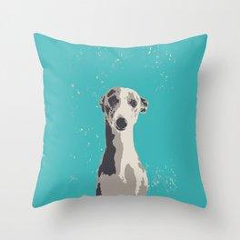 Greyhound sad art print Throw Pillow