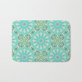 Cream And Turquoise Flowers Bath Mat