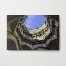 Looking up at the Sky with the Trees Growing on one of the Domes at the Qutb Shahi Tombs in Hyderabad, India Metal Print