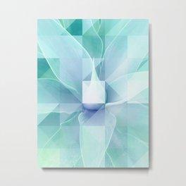 Soft Geo Agave - Aqua and blue Metal Print
