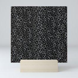 Gray and Black Exotic Leopard Animal Pattern Mini Art Print