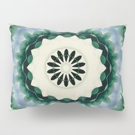 Cerulean Blue and Sacramento Green Mandala Pillow Sham