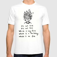 Love -> Building on Fire MEDIUM White Mens Fitted Tee