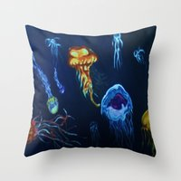 jelly fish Throw Pillows featuring Jelly-Jelly-Fish by Fknjedi1