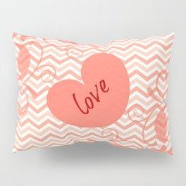 Chevron Love Peach Pillow Sham