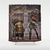 sci fi Shower Curtains featuring Steampunk Sci-Fi 2 by gypsykissphotography