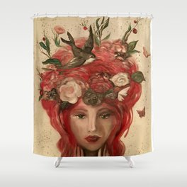 red haired green eyed Crimson Fairy with flowers butterflies and birds portrait Shower Curtain