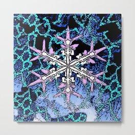 GRAPHIC WINTER SNOWFLAKE PEN & INK DRAWING Metal Print