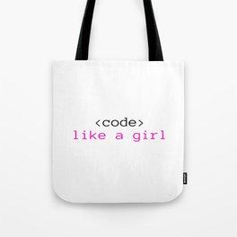 Code like a girl Tote Bag