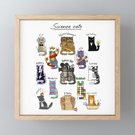 Science cats. History of great discoveries. Physics, chemistry etc Framed Mini Art Print