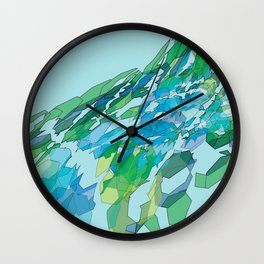Polygonal lake with pines Wall Clock