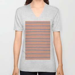 Dusky Sky Blue 27-23 Hand Drawn Horizontal Lines on Earthen Trail Pink 4-26 Unisex V-Neck