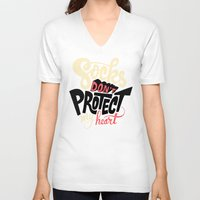 religious V-neck T-shirts featuring Socks Don't Protect My Heart by Chris Piascik