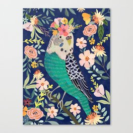 Parakeet with Floral Crown Canvas Print