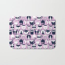 Cuddly Tea Time // white navy & light orchid pink animal mugs Bath Mat