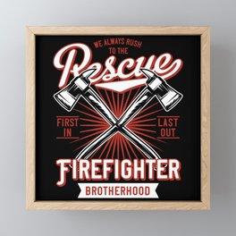 Fire Fighter - Rush To The Rescue - dark Framed Mini Art Print