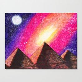 Galaxy Pyramids Landscape Canvas Print