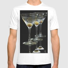 Three Martini's and three olives.  X-LARGE White Mens Fitted Tee