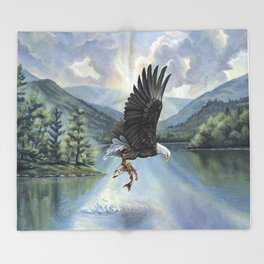 Eagle with Fish Throw Blanket