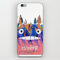 hayao miyazaki iPhone & iPod Skins featuring Poster Toto ro (Miyazaki) by Mariano F. Hernandez