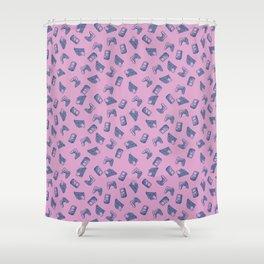 Gaming Pattern-Pink Shower Curtain