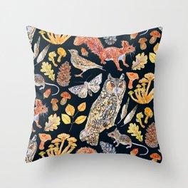 Autumn Wildlife Pattern - Dark Throw Pillow