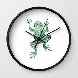 green lichen crawling frog silhouette Wall Clock