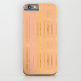 Golden and Peachy Pink Stripes Pattern iPhone Case