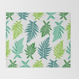 Inked Ferns – Green Palette Throw Blanket