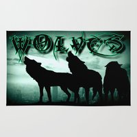 wolves Area & Throw Rugs featuring WolveS by shannon's art space