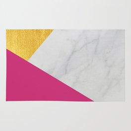Carrara marble with gold and Pantone Pink Yarrow color Rug