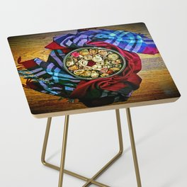 Roses and Wood Side Table