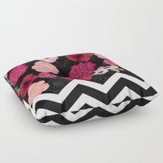 Chevron Flowers Floor Pillow