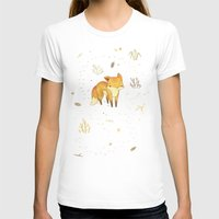 animals T-shirts featuring Lonely Winter Fox by Teagan White