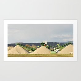 Conveyor on site at gravel pit with sand pile Art Print