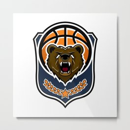 Modern professional grizzly bear logo for a sport team Metal Print