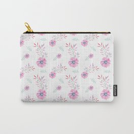 Pastel pink teal watercolor hand painted daisies floral Carry-All Pouch