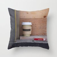 cigarettes Throw Pillows featuring Cigarettes and coffee by RMK Creative