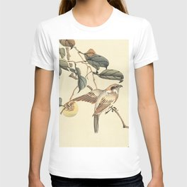 Vintage brown ivory bird floral tree branch T-shirt